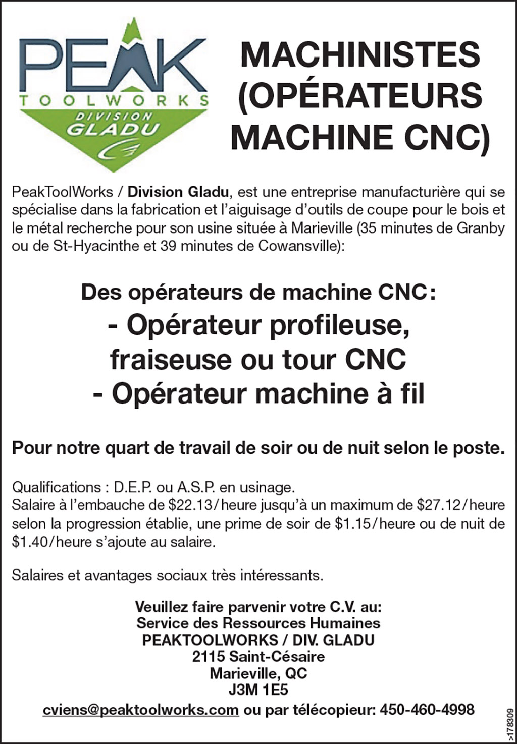 MACHINISTES (OPÉRATEURS MACHINE CNC)
